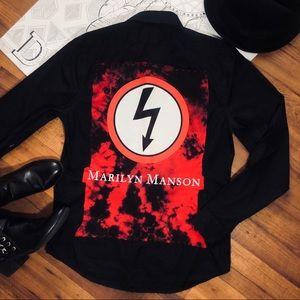 Custom Marilyn Manson Rock Band Button Down Shirt